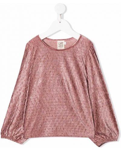 Różowa bluzka z aksamitu Caffe' D'orzo
