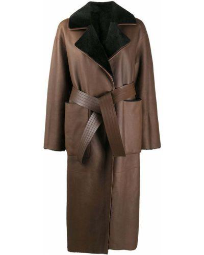Коричневое шерстяное длинное пальто свободного кроя Blancha