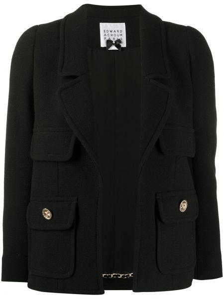 Шерстяная черная длинная куртка с отворотом с карманами Edward Achour Paris