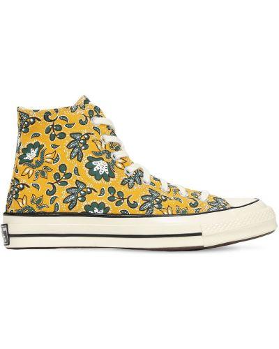 Кроссовки на шнуровке - желтые Converse