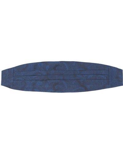 Синий плиссированный шелковый камербанд на крючках Etro