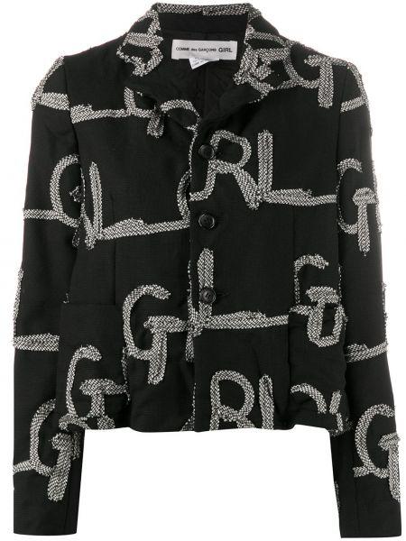 Шерстяной черный удлиненный пиджак с воротником Comme Des Garçons Girl