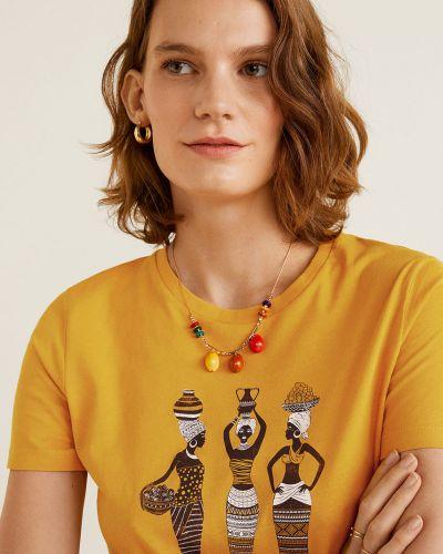 Футбольная желтая футболка с декольте Mango