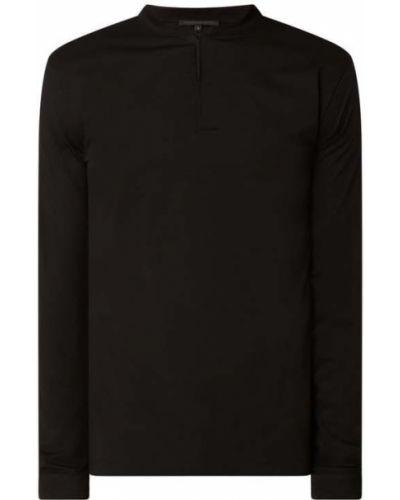 Czarny t-shirt z długimi rękawami bawełniany Drykorn