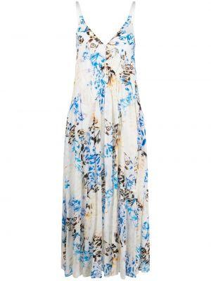 Плиссированное белое платье макси с вырезом Lala Berlin