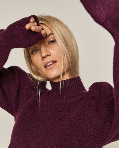 Fioletowy sweter z akrylu z długimi rękawami Medicine
