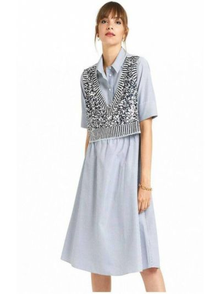Niebieska sukienka w paski Ottodame