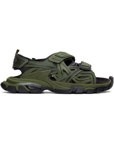 Черные кожаные сандалии на липучках Balenciaga