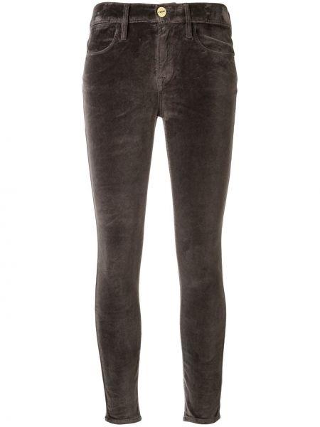 Облегающие серые брюки с карманами на молнии Frame
