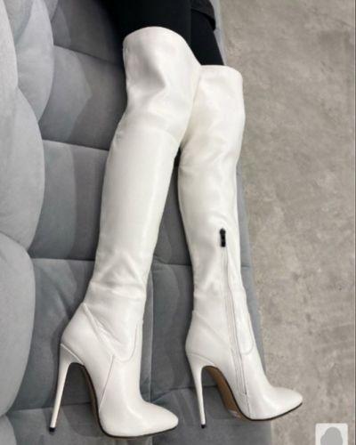 Кожаные ботфорты - белые Brionity