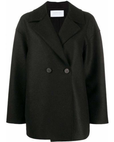 Черное шерстяное пальто с воротником двубортное Harris Wharf London