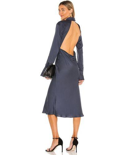 Открытое синее платье миди с открытой спиной L'academie