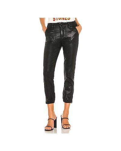 Хлопковые черные джинсы эластичные на молнии Paige