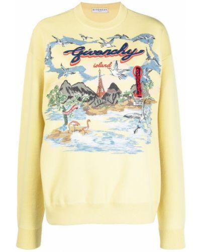 Niebieski sweter z długimi rękawami z printem Givenchy