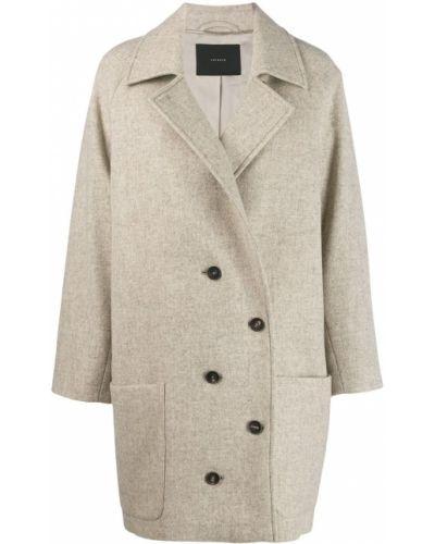 Бежевое пальто классическое с воротником с капюшоном Frenken