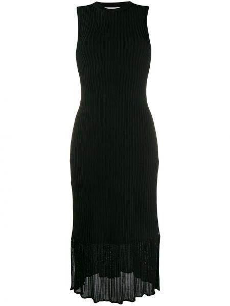 Платье миди в рубчик черное Victoria Beckham
