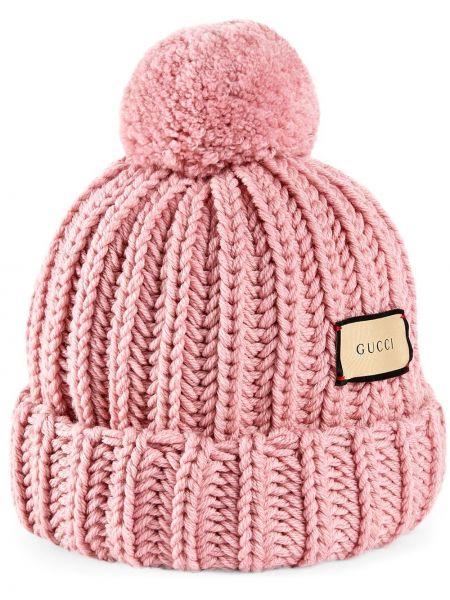 Różowy kapelusz wełniany Gucci