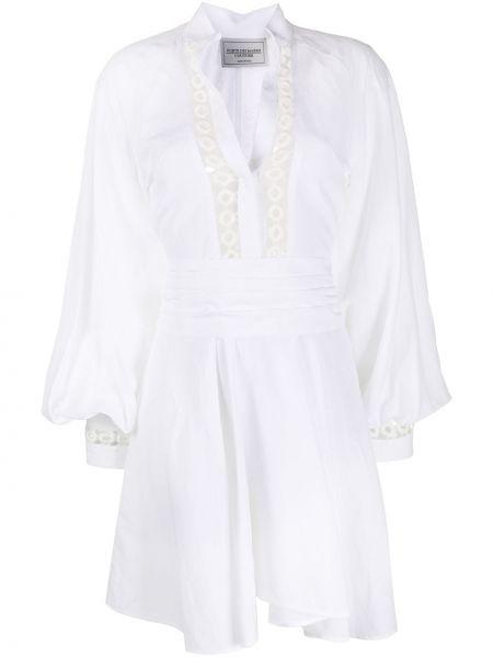 Biała sukienka mini bawełniana z dekoltem w serek Forte Dei Marmi Couture
