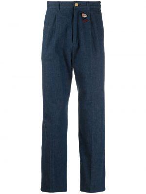Skórzany niebieski jeansy do kostek z haftem Gucci
