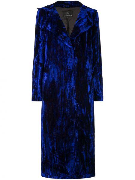 Однобортное синее длинное пальто с капюшоном Unreal Fur