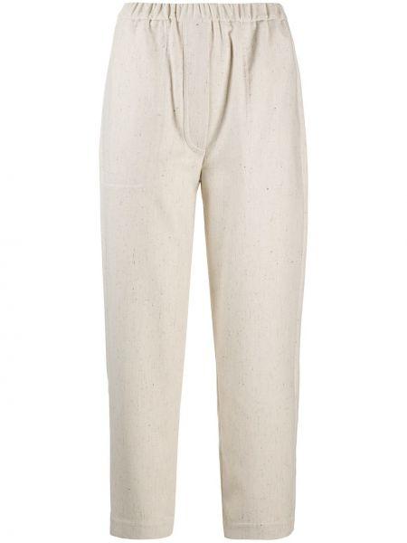 Прямые шелковые белые укороченные брюки с высокой посадкой Tela