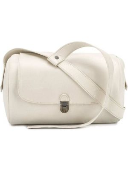 Кожаная белая сумка через плечо с перьями Cherevichkiotvichki