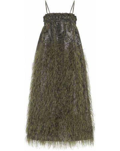 Оливковое платье миди с вышивкой Ganni