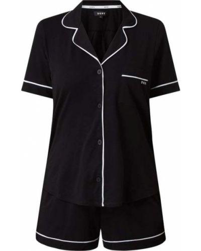 Czarna piżamy z szortami bawełniana krótki rękaw Dkny