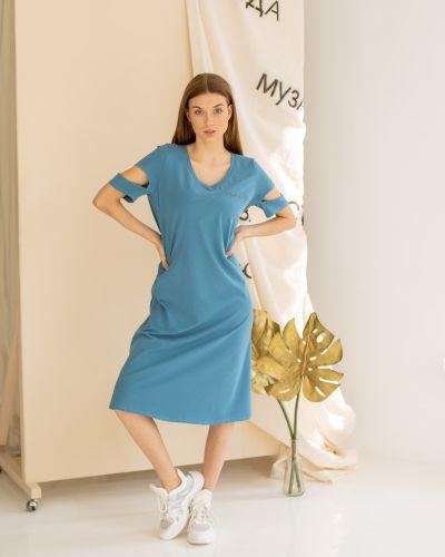 Повседневное домашнее с рукавами платье миди Lovitton