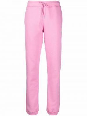 Różowe lniane lniane spodnie Soulland