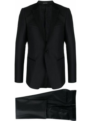 Czarny garnitur slim wełniany z paskiem Emporio Armani