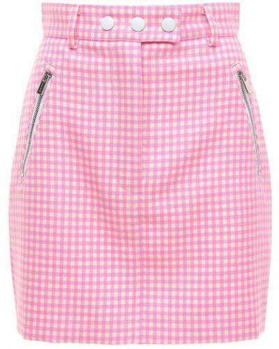 Розовая шерстяная юбка мини с карманами Miu Miu
