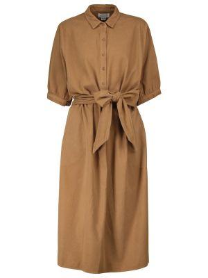 Бархатное платье миди - коричневое Velvet