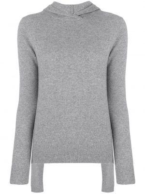 Прямой кашемировый серый свитер с капюшоном Cashmere In Love