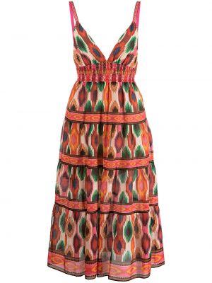 Хлопковое платье миди без рукавов с принтом Alice+olivia