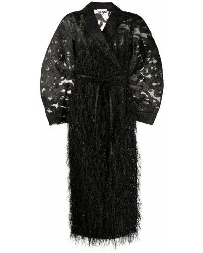 Черное длинное пальто с запахом с карманами Ganni