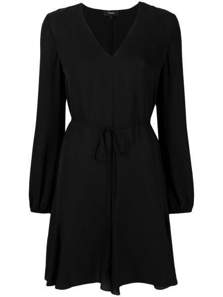Шелковое с рукавами черное платье миди Theory