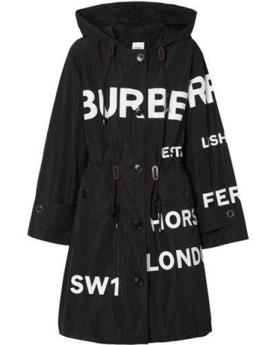 Белая длинная куртка с надписью Burberry