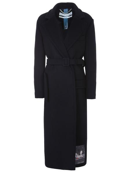 Приталенное шерстяное пальто с воротником с поясом Off-white