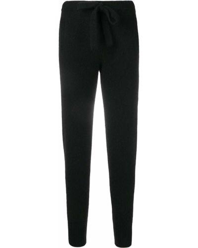 С кулиской шелковые черные спортивные брюки Laneus