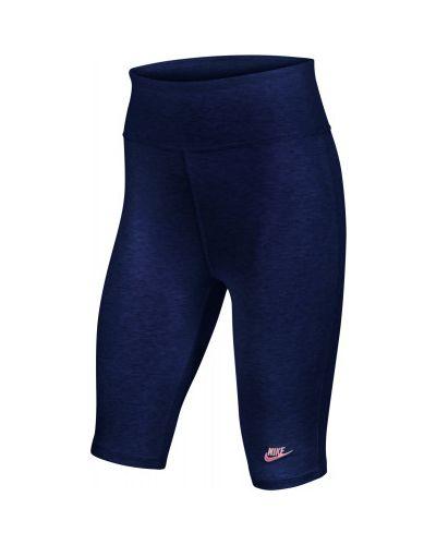 Облегающие хлопковые синие брюки Nike
