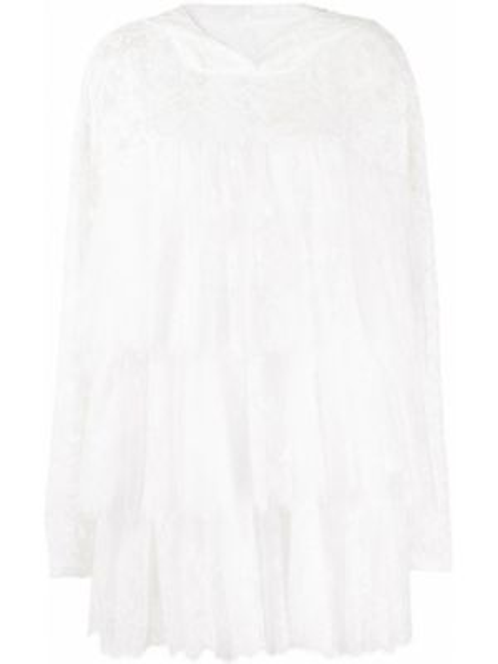 Biała tunika koronkowa bawełniana Mm6 Maison Margiela