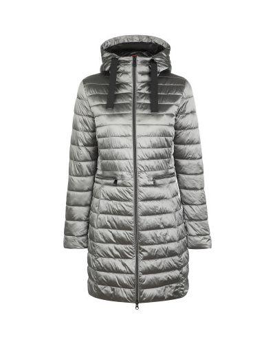 Приталенная теплая серая стеганая куртка на молнии Luhta
