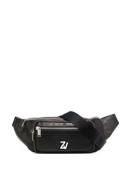 Кожаный черный ремень с карманами Zadig&voltaire