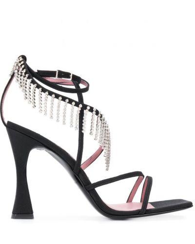 Открытые черные босоножки на высоком каблуке на каблуке со стразами Les Petits Joueurs
