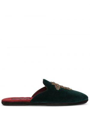 Zielone kapcie skorzane pikowane Dolce And Gabbana