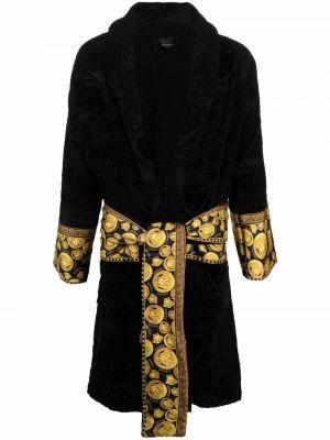 Czarny satynowy szlafrok Versace