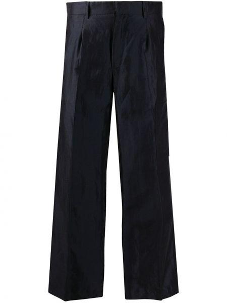 Синие расклешенные брюки с высокой посадкой из вискозы Soulland