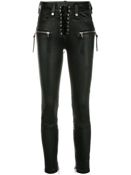 Кожаные зауженные черные джинсы-скинни с пайетками Unravel Project