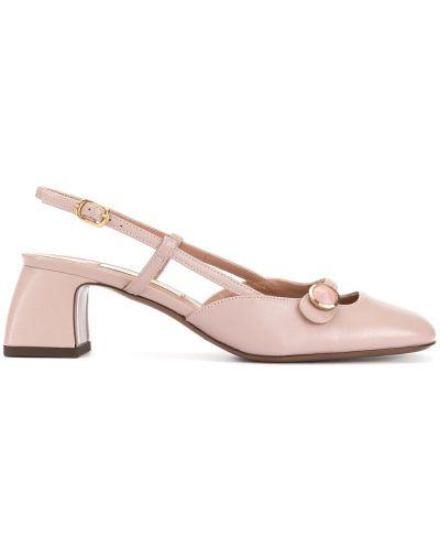 Розовые туфли-лодочки с открытой пяткой круглые на каблуке L'autre Chose